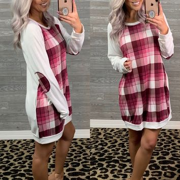 Burgundy Fuchsia Plaid Tunic Dress