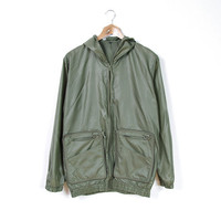 70s Hooded Windbreaker folds to a pocket! / Lightweight Military Khaki Color Outdoor Polyamide Jacket/ Women L/ Men S