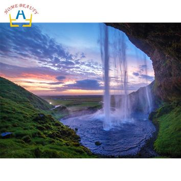 Waterfall landscape pictures by numbers on canvas drawing wall art paintings for the kitchen home decoration craft gift WY5015