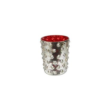"5"" Red and Silver Hobnail Mercury Glass Decorative Votive Candle Holder"
