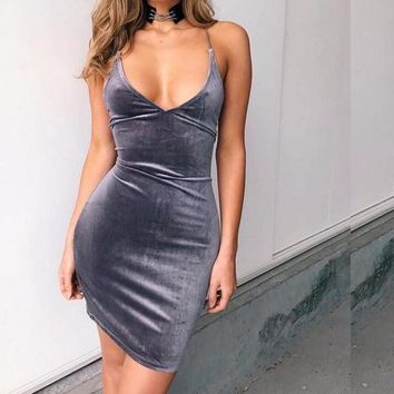Velvety Corset Criss-Cross Back Dress