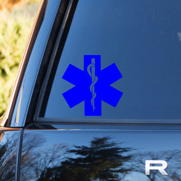 EMT Star Of Life | EMT Emblem | EMT Car Vinyl Decal | Paramedic Decal | Paramedic Cross Life | Paramedic Wife Decal | Life Saver Vinyl Decal