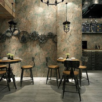 Vintage Wallpaper 3D Embossed Retro Cement PVC Wall Paper Restaurant Cafe Living Room Background Wall Covering Vinyl Art Decor