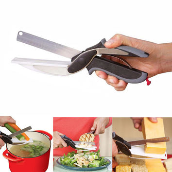 Clever 2 in 1 Knife Cutting Board | Vegetable Multi-Function Scissors
