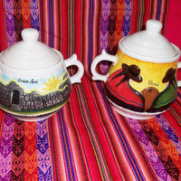 Peruvian Design Sugar Bowls with landscapes of Peru