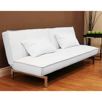 Walmart: Belle Faux Leather Convertible Futon Sofa Bed, White