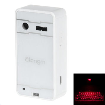 Atongm L1 Bluetooth Virtual Laser Projection Keyboard Touchpad for Apple Android - White