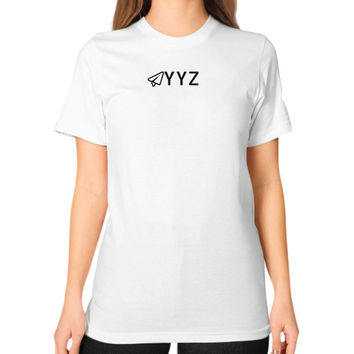 YYZ Unisex T-Shirt (on woman)