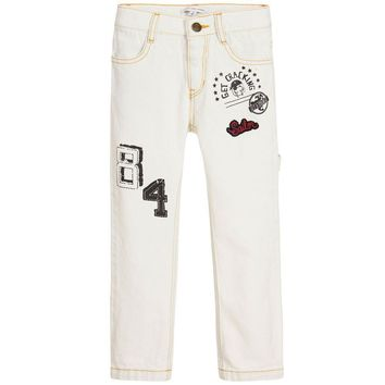 Little Marc Jacobs Boys Off-White Jeans With Patches