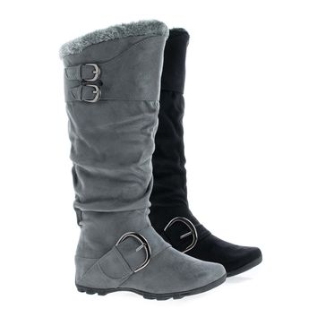 Prep Knee High Round Toe Slouchy Faux Fur Lug Sole Flat Boots