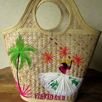 Straw Tote Bag woven beach bag vintage 60s embroidered basket bag hand stitching colorful fabric boho ethnic hippie festival Puerto Rico