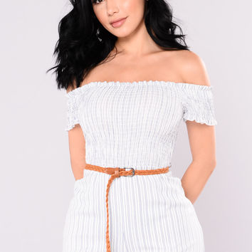 Real Slow Striped Romper - Ivory/Blue