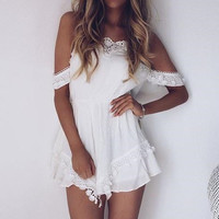 Lace Off Shoulder Romper Jumpsuit