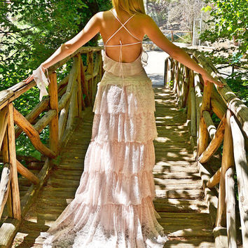 Pink Lacen Bohemian Wedding Dress / Bridal Wedding Gown / Handmade by SuzannaM Designs