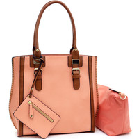 3 in 1 Belted Tote Handbag w/ coin bag and Cosmetic Bag Preach/Brown
