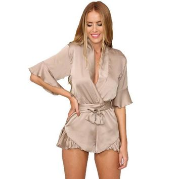Gj106 New Woman Relax Loose Fit Deep V Neck 3/4 Sleeve Silk Ruffled Romper Satin Playsuit Casual Jumpsuits S Xl Tan Peach Black