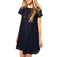 Short Sleeve Lace Mini Dress