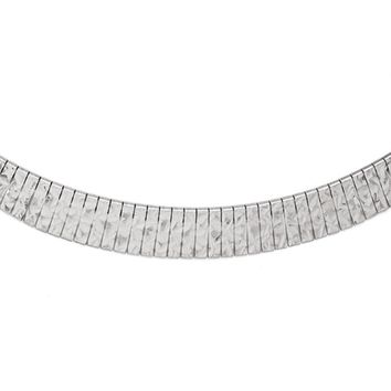 Graduated Diamond Cut Link Collar Necklace in Sterling Silver, 17 Inch