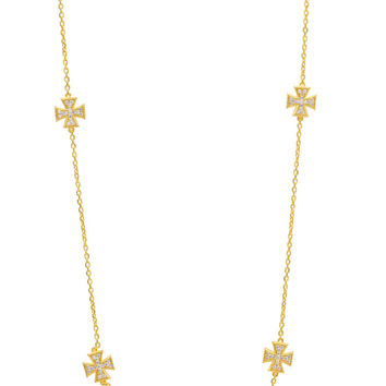 Sterling Silver, gold plated cross station necklace with cz diamond setting