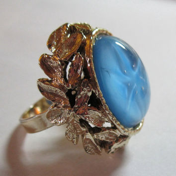 Vintage Adjustable Lindy Star faux Sapphire Cocktail Ring
