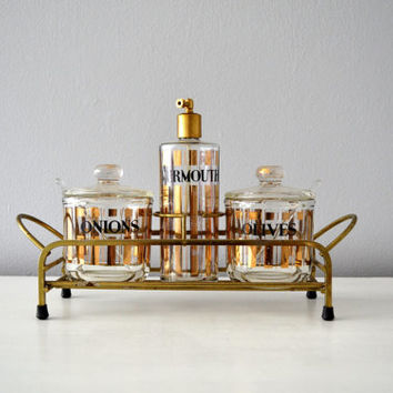 Vintage Martini Set, Gold and Glass Barware, Olives, Onions, Vermouth, Striped Hollywood Regency Glam, Luxe Bar Serving Caddy