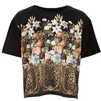River Island Girls black leopard floral print t-shirt