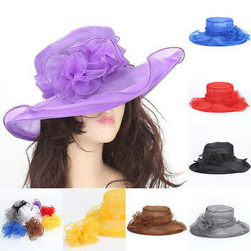 New Women's Vintage Kentucky Derby Sun Hats Wide Brim Wedding Dress Church Racing