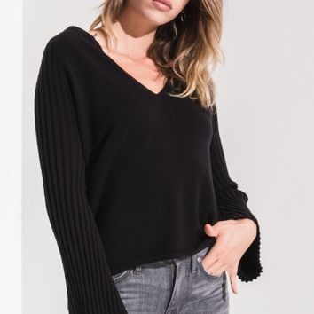 Misty Ribbed Bell Sleeve Sweater