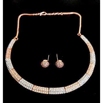 Alternate Rose gold and silver rhodium polished 2 tone simple cz choker necklace and earring set