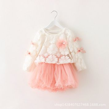 US Kids Baby Girl Dress Princess Bowknot Party Pageant Lace Tutu Dresses Clothes
