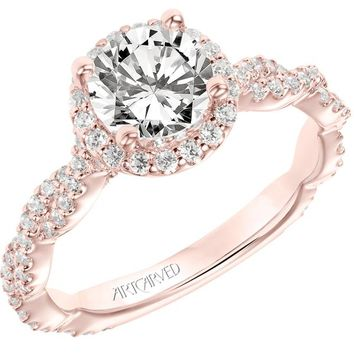 "Artcarved ""Gianna"" Twist Shank Halo Diamond Engagement Ring"