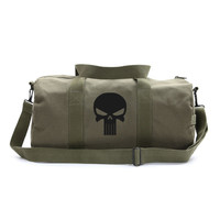 Olive Canvas Shoulder Duffel Bag-Sports Duffle The Punisher Skull Militaria