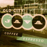Mint Cap Old City Java Sign - coffee, coffeehouse, window, old signs, downtown, trendy, food, drink 1 8x10 Fine Art Photography Print
