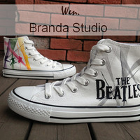 New-The Beatles Shoes,Studio High Top Hand Painted Shoes 49.99Usd,Paint On Custom Converse Shoes Only 90Usd,Buy One Get One Phone Case Free