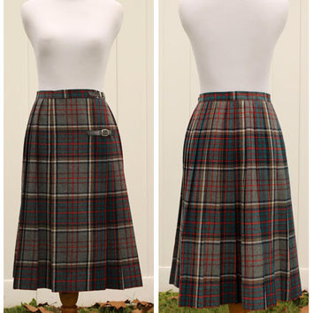 Vintage 80s Bobbie Brooks Plaid Tartan Kilt Style Skirt// Gray Green Blue Red Yellow