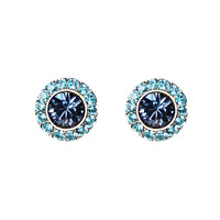 Anne Koplik Designs Montana Blue and Indicolite Swarovski Crystals Post Earrings