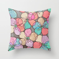 It's Always Summer Somewhere - bright poppy floral Throw Pillow by Micklyn