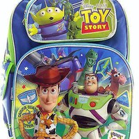 "Disney Pixar Toy Story 16"" Canvas Green & Blue School Backpack"