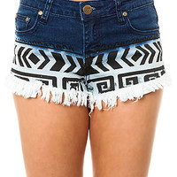 Aztec Print Frayed Hem Denim Shorts