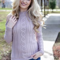 Cold Shoulder Cable Knit Sweater, Lilac