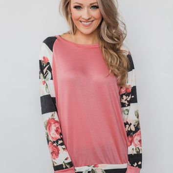 Can't Help Myself Long Sleeve Top- Pink
