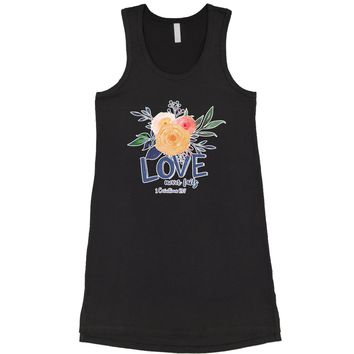 Love Never Fails Corinthians Bible Quote Racerback LBD Little Black Dress