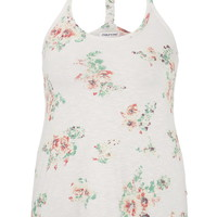 Plus Size - Floral Print Braided Racerback Tank - Multi