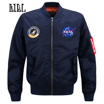 LILL | 6XL NASA Bomber Jacket Men MA1 Flight Jacket Pilot Air Force Male Army Coats Military Motorcycle Baseball Jackets,UMA458