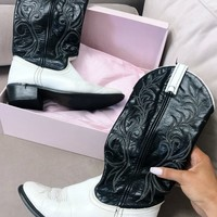 VINTAGE Black and White Cowgirl Boot