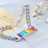 Stainless Steel Rainbow ID Bracelet