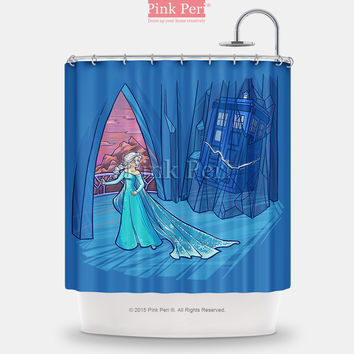 Doctor Who Elsa and the Tardis Shower Curtain Home & Living Bathroom 235