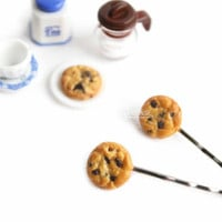 Chocolate Chip Cookie Bobby Pin Hair Accessory Women Accessories Silver Hair Clip Miniature Food Polymer Clay Gift Idea