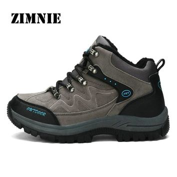 ZIMNIE New Winter Men Outdoor Hiking Boots Shoes High Quality Brand Pu Leather Mountain Shoes Male Sport Shoes Plus Size 36~48