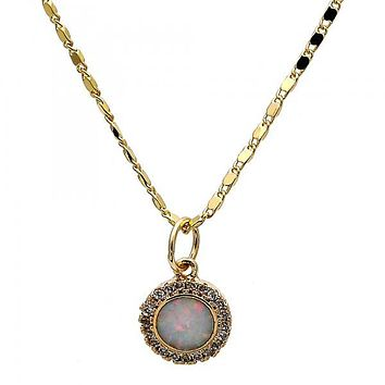Gold Layered Fancy Necklace, with Opal and Micro Pave, Golden Tone